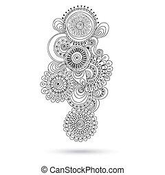 paisley, hennabokor, tervezés, mehndi, doodles, element.