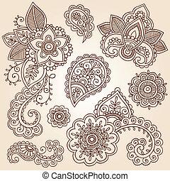 paisley, vektor, állhatatos, hennabokor, virág
