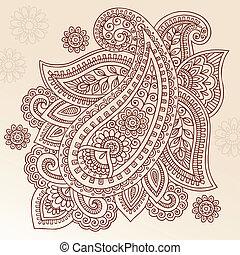 paisley, vektor, tervezés, hennabokor, mehndi