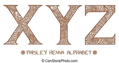 paisley, y, ismeretlen mennyiség, abc, hennabokor, z