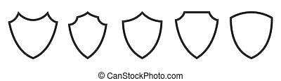 pajzs, állhatatos, vektor, icons., shields., áttekintés