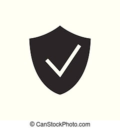 pajzs, fekete, ellenőriz, ikon