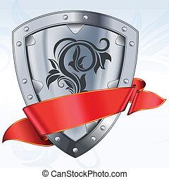 pajzs, piros szalag, acél
