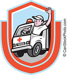 pajzs, szükséghelyzet, metőautó driver, hullámzás, jármű, karikatúra