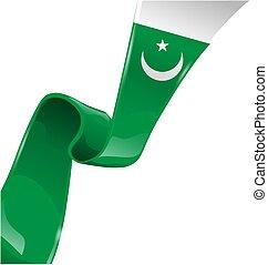 pakistan lobogó, szalag, white háttér