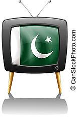 pakisztán, televízió, lobogó