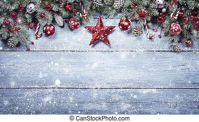 palánk, elágazik, havas, piros, fenyő, háttér, díszítés, karácsony, -