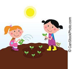palántázás, gyerekek, kert, detektívek