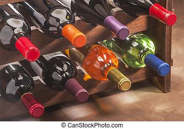 palack, kazalba rakott, állvány, bor