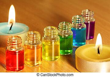palack, színezett, gyertya, hat, két, illat, olaj, asztal, evez
