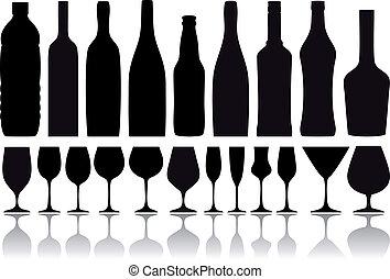 palack, vektor, szemüveg, bor