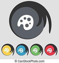 paletta, buttons., színezett, jelkép, vektor, öt, cégtábla., ikon