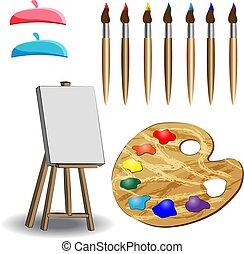 paletta, festőállvány, vászon, fából való, ecset, üres