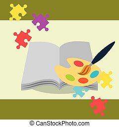 paletta, szín, fejtörő, festék, könyv, ecset, nyílik