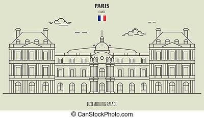 palota, france., határkő, luxemburg, ikon, párizs
