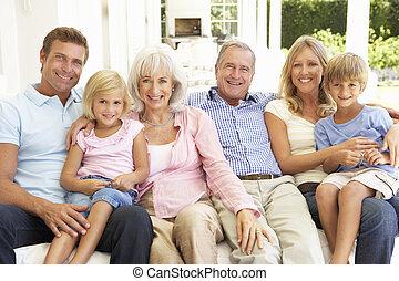 pamlag, kiterjedt, bágyasztó, család, együtt