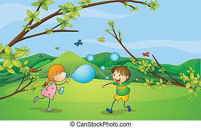 panama, gyerekek, játék, fújás