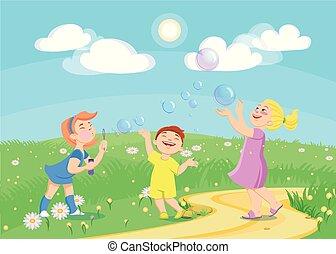 panama, karikatúra, játék, szappan, gyerekek