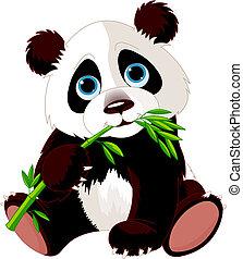 panda, étkezési, bambusz