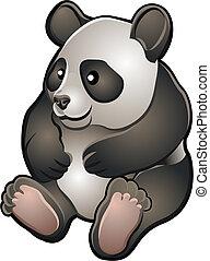panda, barátságos, ábra, csinos, vektor