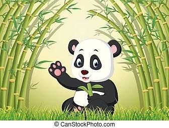 panda, csinos, bambusz, két, erdő