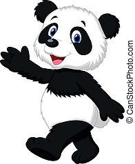 panda, csinos, hullámzás, karikatúra, kéz