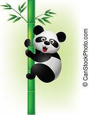 panda, mászik fa