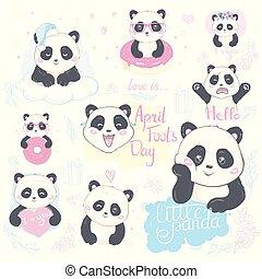 panda., vektor, illustration., emoji