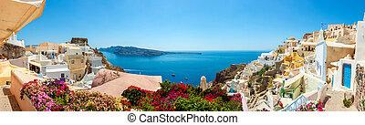 panoráma, falu, santorini, oia, sziget