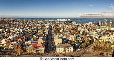 panoráma, izland, reykjavik, megnézett, felül