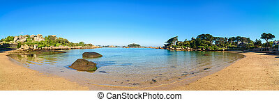 panoráma, tengerpart, brittany, öböl, france., ploumanach, hintáztatni, reggel