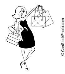 pantalló, bevásárlás, anyagbeszerző, feláll, birtok, sikk