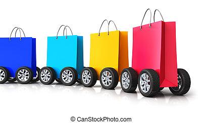 pantalló, bevásárlás, autó, kiképez, dolgozat, csoport, tol