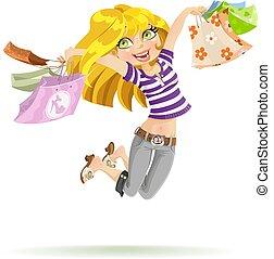 pantalló, bevásárlás, shopaholic, háttér, leány, fehér