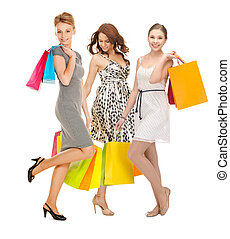 pantalló, bevásárol elpirul, lány, bájos, birtok