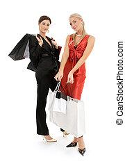 pantalló, boldog, bevásárlás, 2 lány