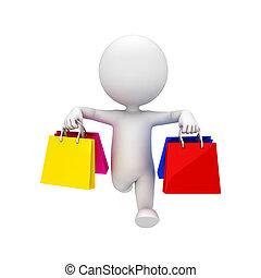 pantalló, fehér, 3, bevásárlás, emberek