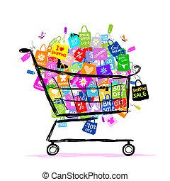 pantalló, fogalom, bevásárlás, nagy, kiárusítás, tervezés, kosár, -e