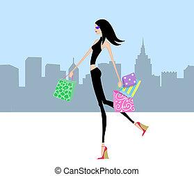 pantalló, gyalogló, bevásárlás, város, sikk, leány