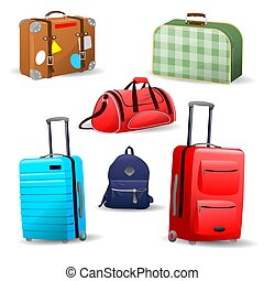 pantalló, különféle, bőrönd, utazás, gyűjtés