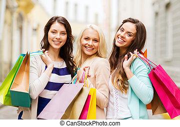 pantalló, lány, bevásárlás, ctiy