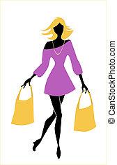 pantalló, leány, mód, bevásárlás