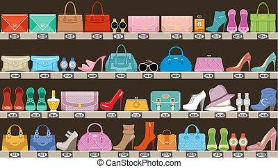pantalló, mód, butik, segédszervek, cipő, store.