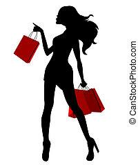 pantalló, nő, árnykép, fiatal, black piros