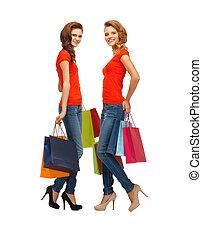 pantalló, tizenéves, bevásárlás, 2 lány