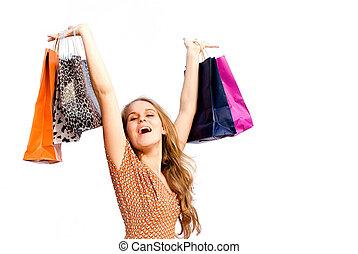 pantalló, woman bevásárol, anyagbeszerző, boldog