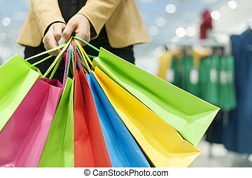 pantalló, woman bevásárol, birtok