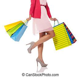 pantalló, woman bevásárol, birtok, színes