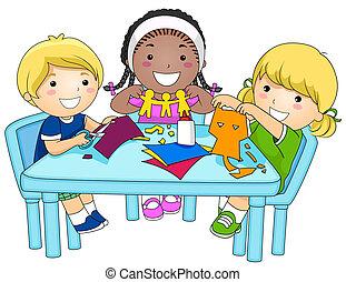 papír cutouts, gyerekek, gyártás