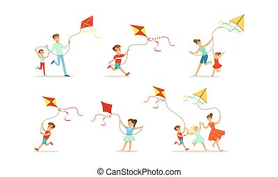 papírsárkány, karikatúra, liget, birtoklás, szabadban, móka, állhatatos, szülők, gyerekek, ábra, játék, vektor, papírsárkány, gyerekek